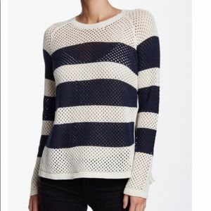 PAM & GELA Side Slit Striped Cotton Sweater